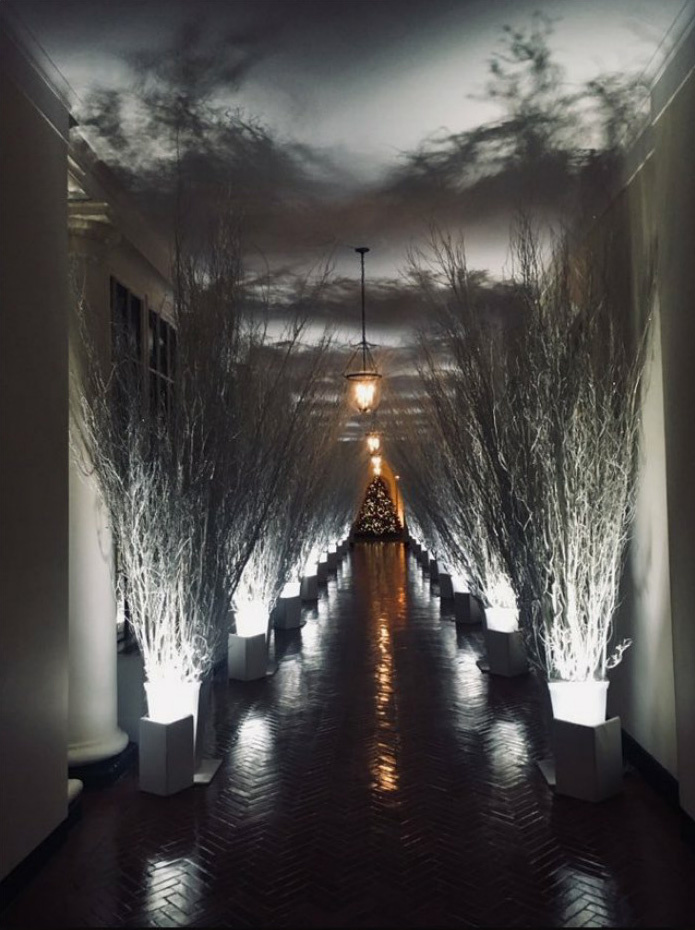 Be kell vallani, hogy a Fehér Ház idei dekorációjából nem árad a meghittség, a fények felkapcsolása után az összkép inkább rideg és sejtelmes.