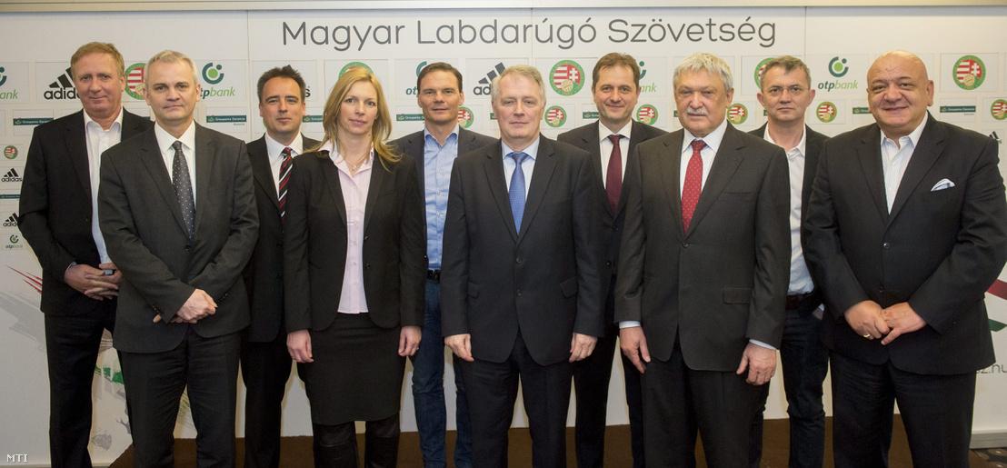 Members of the Hungarian Football Association (from left to right) Tibor Nyilasi, Márton Vági, Gábor Török, Gabriella Balogh, Erik Bánki, Sándor Berzi, Béla Dankó, Sándor Csányi, István Garancsi on April 2, 2015