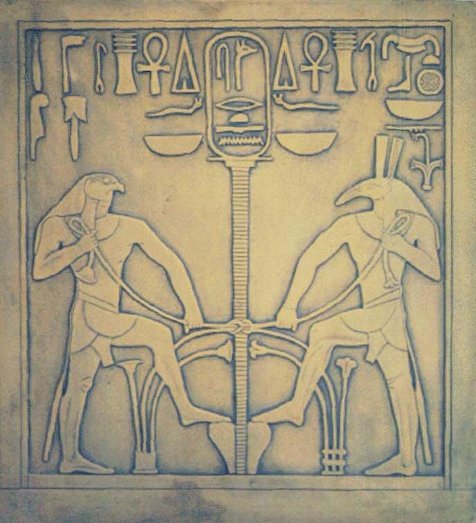 Hórusz és Széth I. Szeszósztrisz szobrán. Alsó- és Felső-Egyiptom egységének jeleként Széth kezében papirusznövény (Alsó-Egyiptom jelképe) Hórusz kezében lótuszvirág (Felső-Egyiptom jelképe)