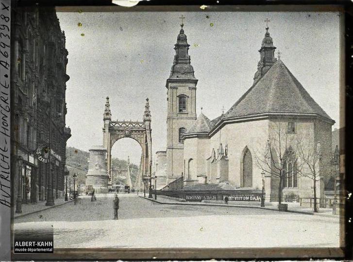 Az Erzsébet híd pesti hídfője 1913-as autokróm felvételen