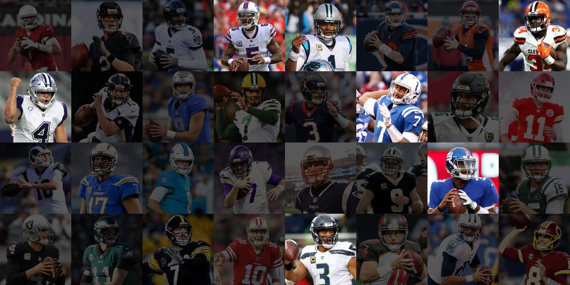 Az NFL 2017-es szezonjának 13. fordulójában kezdő irányítók. 32 csapatnál csak 7-nél kezd fekete ezen a poszton.
