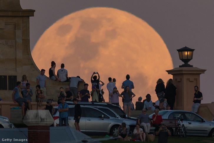 Holdat csodáló emberek a fremantle-i háborús emlékműnél, Ausztráliában.