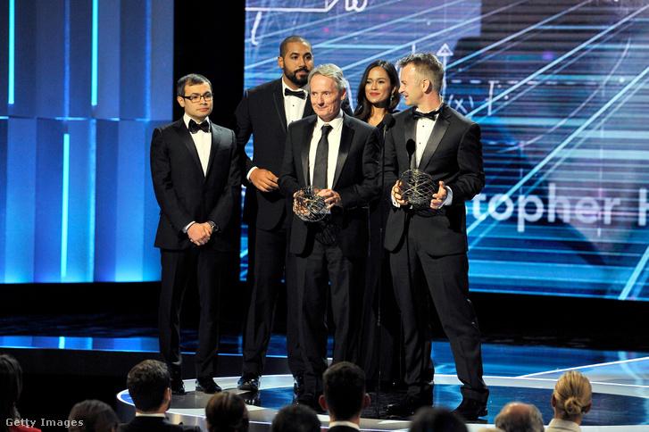 A matematikai díjazottak: James McKernan (középen) és Christopher Hacon.