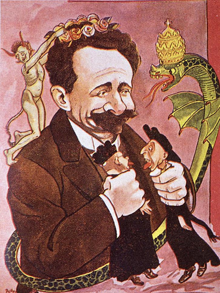Ezen az 1914-es karikatúrán a köztársasági időszak legmeghatározóbb politikusa, a durva egyházellenes intézkedéseiről ismert Afonso Costa két jezsuitát fojtogat, miközben a pápai tiarát viselő kígyó mérget okád rá, egy ördögfióka pedig koszorút helyez a fejére.
