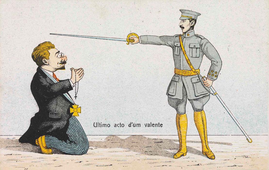 """""""Ultimo acto d'um valente"""", vagyis """"Egy hős ember utolsó cselekedete"""" – hirdeti a korabeli képeslap, amelyen a köztársaság korábban már említett ellentmondásos miniszterelnöke, Afonso Costa térden állva könyörög az életéért a kezében kardot tartó Pais előtt. Külön csavar, hogy az egyház- és királyellenes köztársasági politikus kezében olvasó van, felöltőjén pedig egy, a királyi házhoz hű személyeknek adományozott – a köztársaság idején megszüntetett – kitüntetés."""