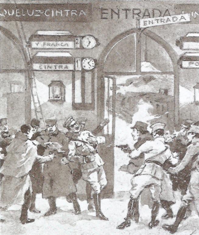 A Sidónio Pais ellen elkövetett merénylet egy 1919-es portugál képeslapon