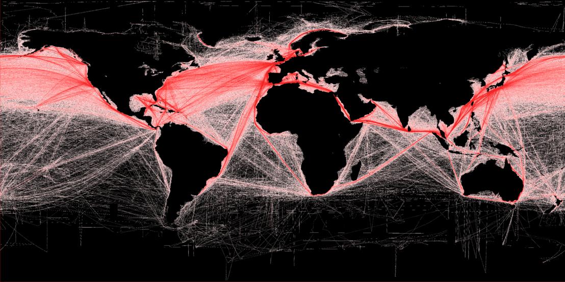 Kereskedelmi hajózási útvonalak ábrázolása a kétezres évek közepén.