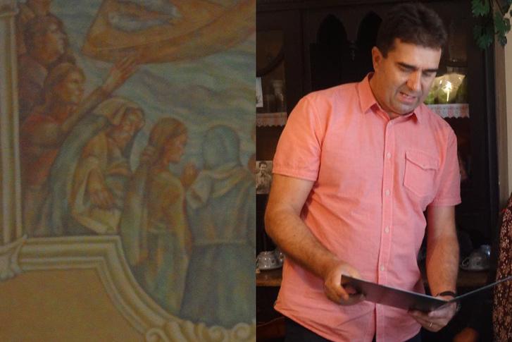 A kép bal felső sarkában látható alak állítólag Farkas Egon polgármester, aki egészen bizonyosan a kép jobboldalán látható
