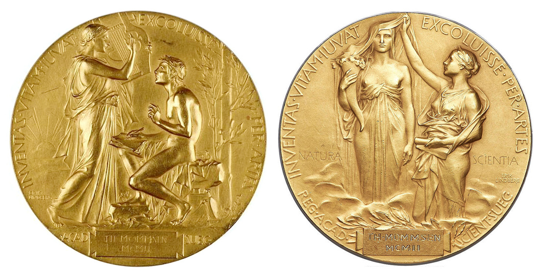Balra: Mommsen igazi Nobel-díja, jobbra: a hamisítvány