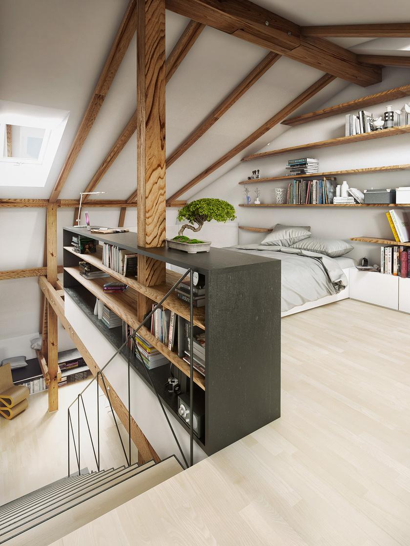 A hely kihasználása érdekében a szekrényeket a legjobb fali polcokkal helyettesíteni, de térelválasztóként akár keskeny polcsorok is megállják a helyüket.