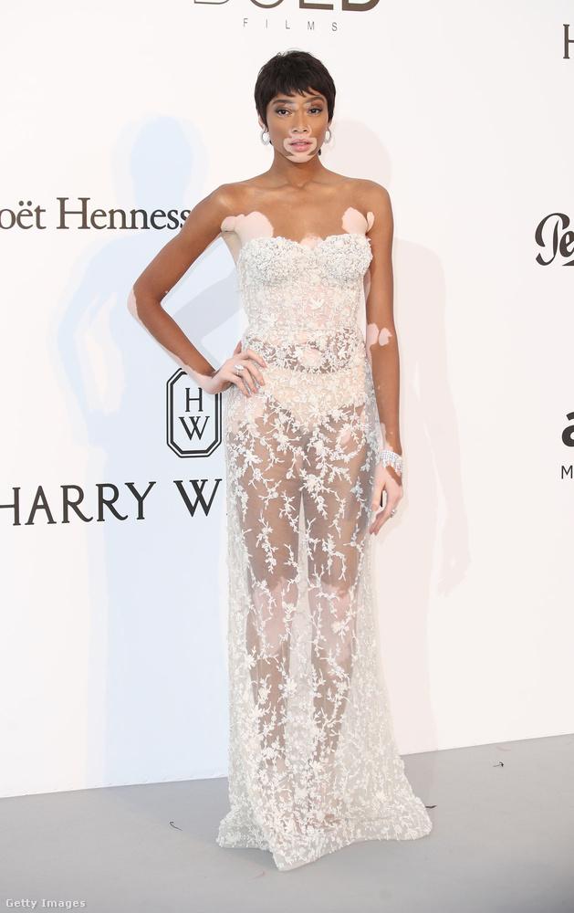 Egyszerű szabású átlátszó estélyiruha Winnie Harlow modellen a Cannes-i amfAR-gálán.