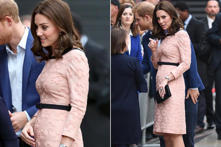 Októberben ebben a tüneményes, rózsaszín, virágmintás ruhácskában kapták le, ami már szépen kiemelte gömbölyödő pocakját.