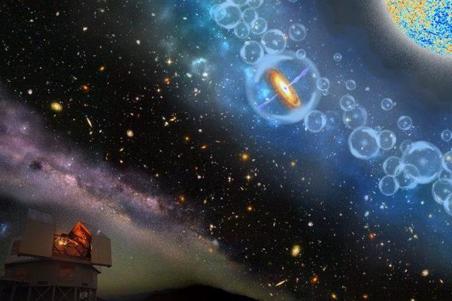 Fantáziarajz a legtávolabbi ismert szupernagy tömegű fekete lyukról, illetve az általa működtetett kvazárról. A kvazár és társai körül láthatóak a korai világegyetemben felfénylő galaxisok körül átlátszóvá váló reionizált hidrogén buborékai a kevésbé átlátszó semleges hidrogén kékkel ábrázolt felhőjében.