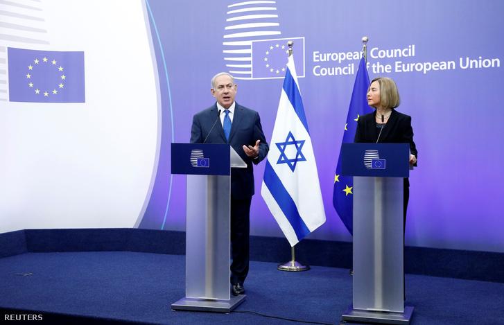 Netanjahu és Mogherini Brüsszelben 2017. december 11-én