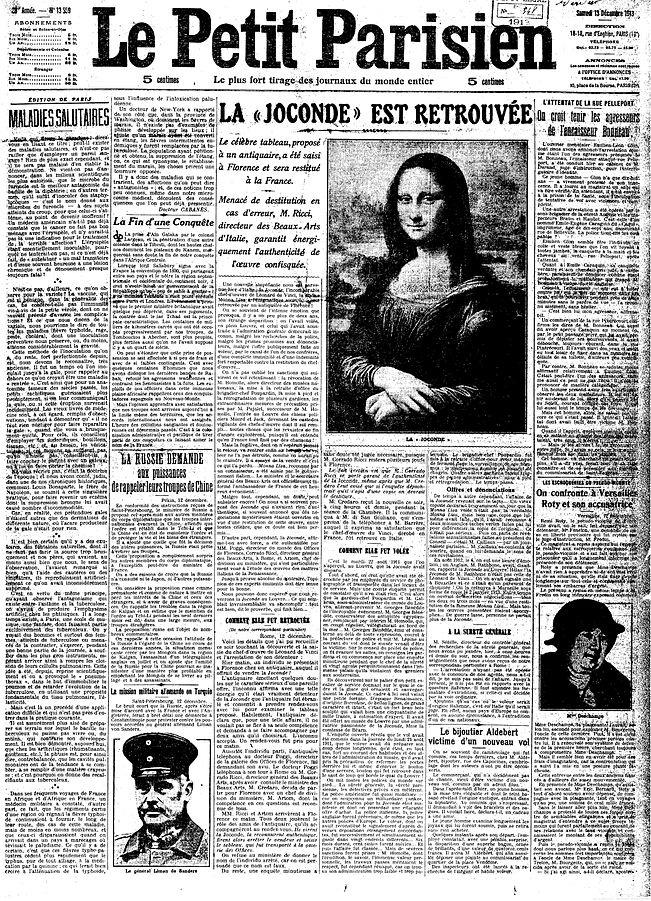 Megkerült a Mona Lisa! a Le Petit Parisien címlapja 1913. december 13-án.