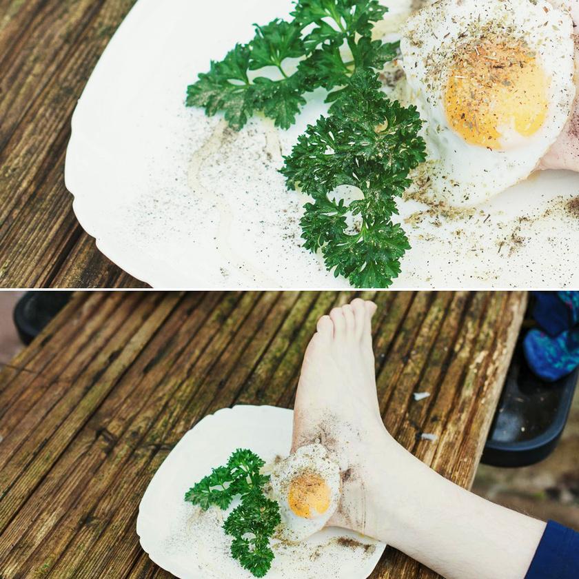 Hmm, mi lehet a tojás mögött, valami különleges sonka? Ja, nem, ez Butler lába, nyami.