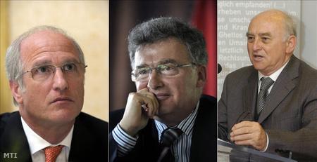 Surányi György, a Corvinus Egyetem tanára, volt jegybankelnök, a CIB Bank elnöke, Vértes András, a GKI Gazdaságkutató Zrt. elnöke és Glatz Ferenc akadémikus, az MTA Társadalomkutató Központ elnöke