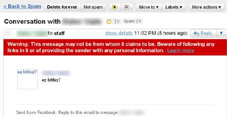 A Gmail a spamfolderbe tette a Facebookos címről érkező levelet. De legalább megjött