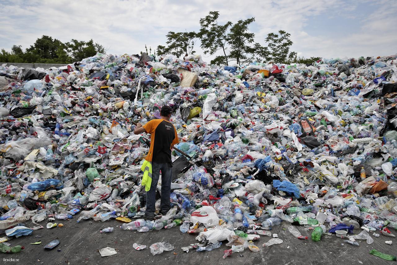 Szeméthegyek. A kukásautó az udvari tárolóba üríti a begyűjtött szelektív hulladékot. Az FKF-nek több válogatóüzemmel is szerződése van, az egyik a volt Papírgyár területén álló csepeli válogató. Nyilvánvaló volt, hogy a csepeli kör végén itt kötünk ki. Az üzemet 4,5 millió euróból újították fel 2014-ban.