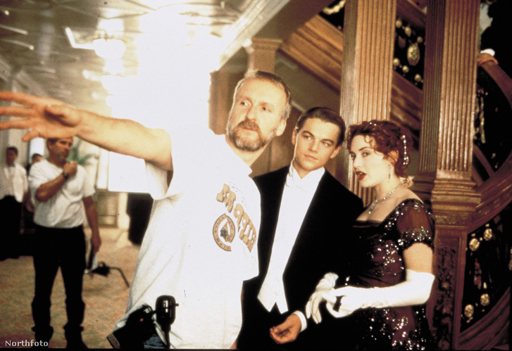 James Cameron, Leonardo Di Caprio és Kate Winslet a forgatáson
