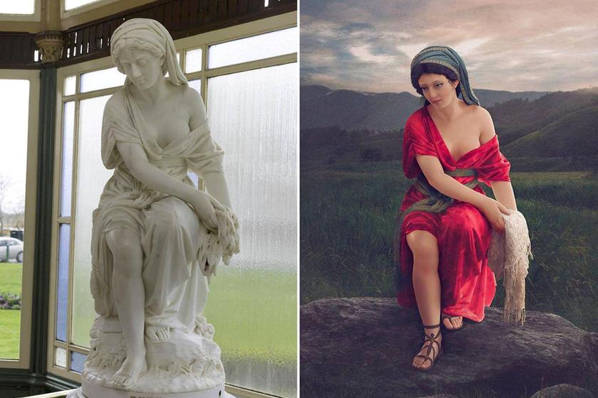 A bibliai Ruth gyönyörű, bordó ruhát kapott, és természetes környezetet festett hozzá a digitális fotóművész.