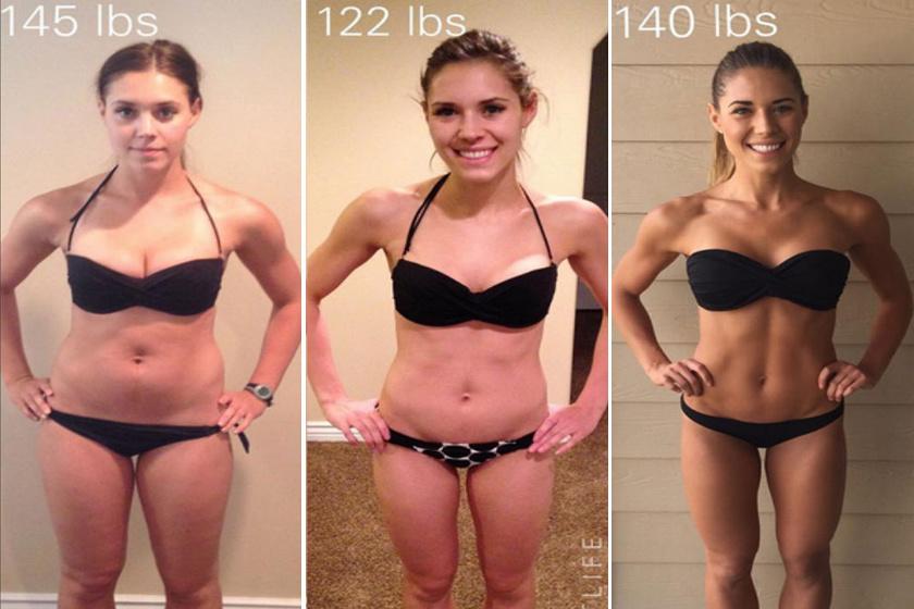 Kelsey Wells, fitneszblogger fotóján jól látszik, hogy a feszes hasnak kevés köze van a testsúlyhoz. A nő 65 kilóról indult, de hiába fogyott 55-re, sokkal feszesebb lett, amikor 63 kilóig izmokat szedett fel.
