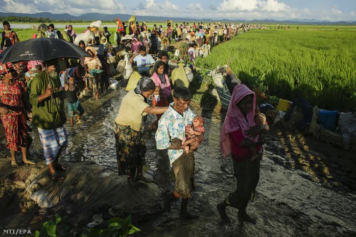 Mianmari rohingja menekültek átkelnek a bangladesi Naf folyón Palongkhali térségében
