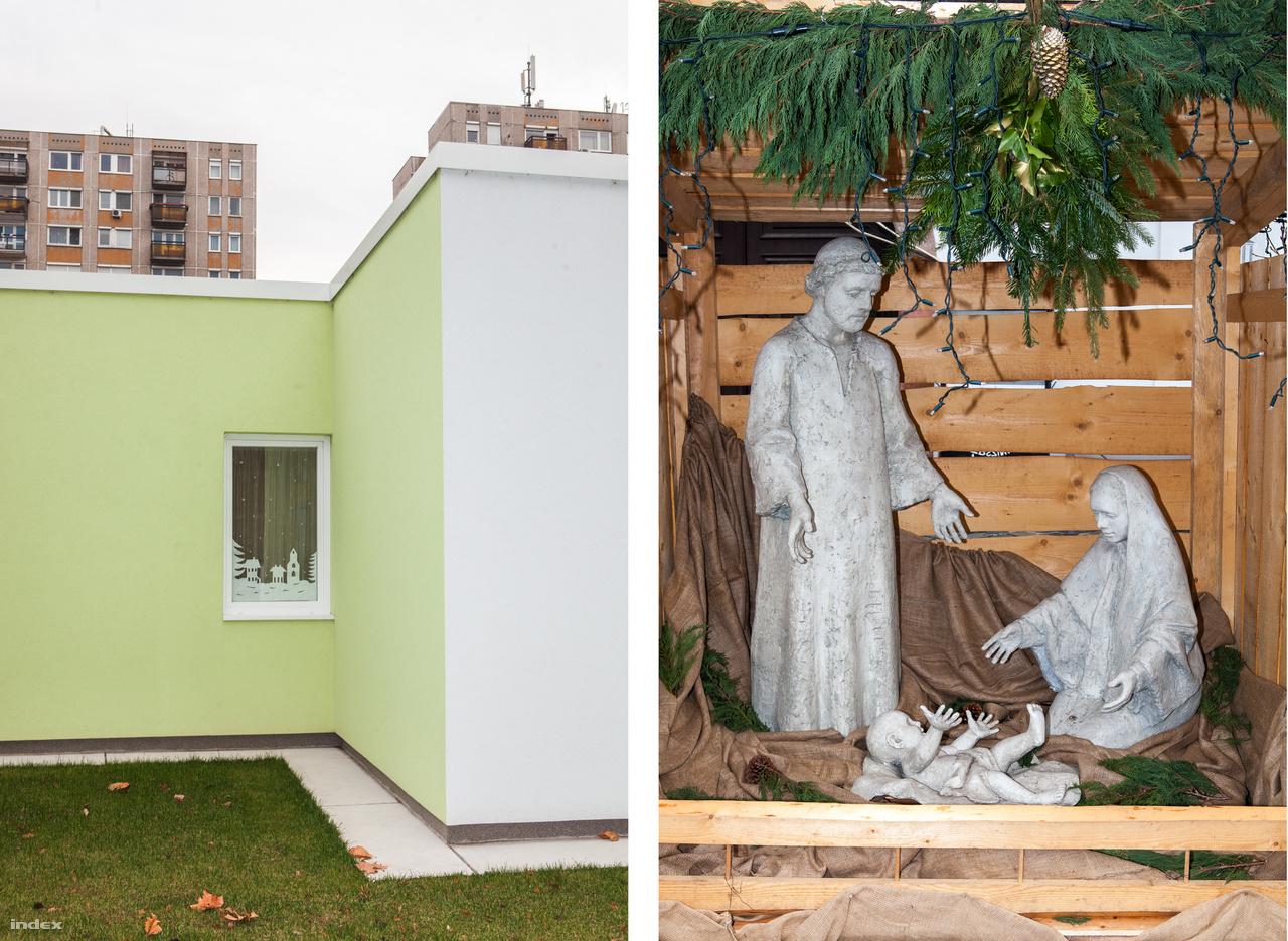 Bal: Óvodaépület a XIII. kerületben - Jobb: Betlehem az óbodai karácsonyi vásáron