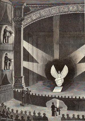Illusztráció a Loïe Fuller-előadásához készült világítástechnikáról, Scientific American magazin, 1896,