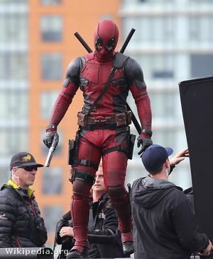 A Deadpool forgatásán, 2015-ben