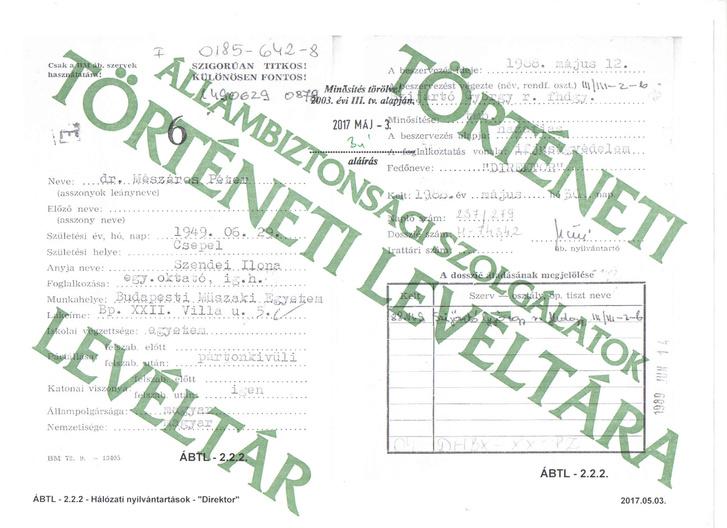 Mészáros Péter ÁBTL-ben őrzött beszervezési kartonja 1988-ból.