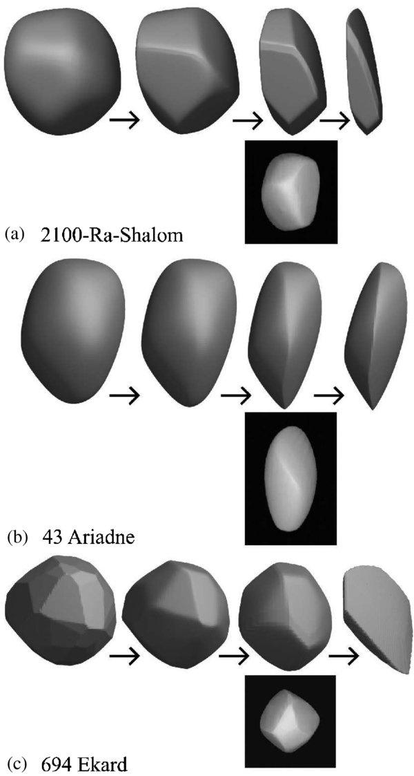 Illusztráció a 2009-es tanulmányból: a modell így jósolja meg három aszteroida további kopását.