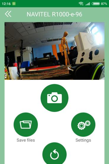Navitel R1000: az app főmenüje és az élőkép. A legfontosabb beállítások innen is elérhetők