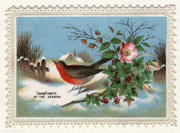 Jóval korábban (az ügynökségi tájékoztatás szerint 1860-ban) nem feltétlenül volt szükséges ráírni a képeslapra, hogy karácsony és újév miatt érkezik az üzenet: ez a vörösbegy szezonális üdvözletetcsicsereg a címzettnek.