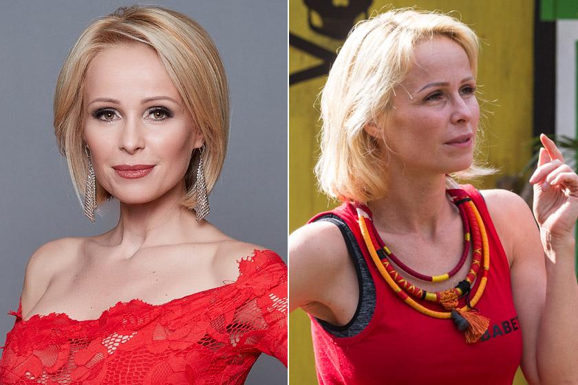 A 39 éves Köllő Babett szemöldöke ugyan tartósan festett, de a luxusfeleség a dzsungelben már nem viselt sminket, és enyhén kócos haja sem zavarta.