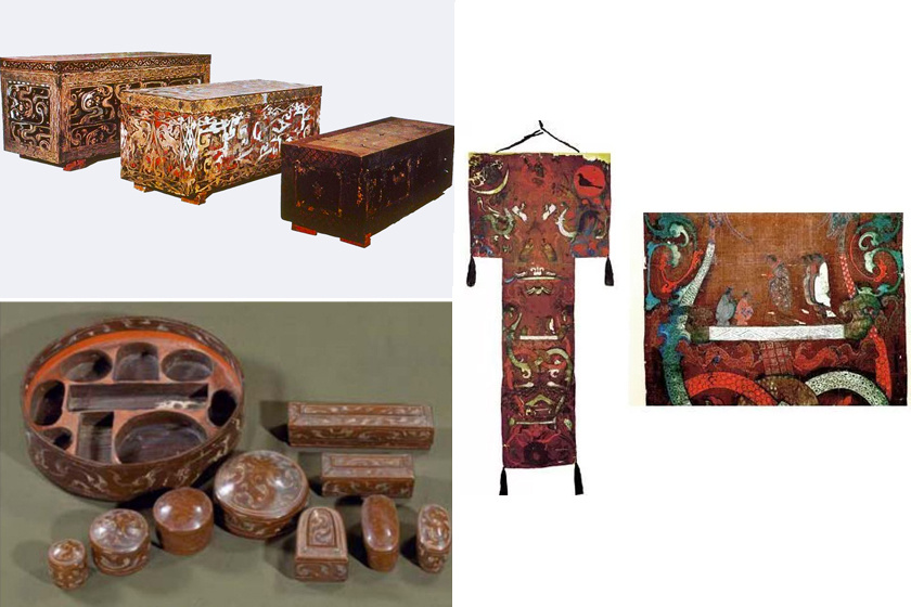 Koporsói, illetve tárgyak és selymek a sírból