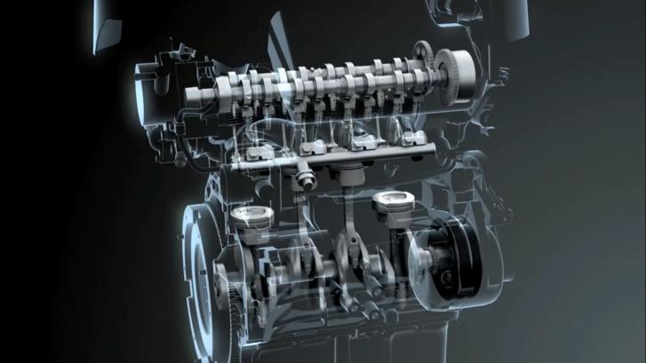 Az 1,4 literes Bossterjet motor forgattyús mechanizmusa és szelepvezérlése. A szívóoldalon változó szelepvezérlést alkalmaznak. A dugattyúkat alulról olajsugár hűti