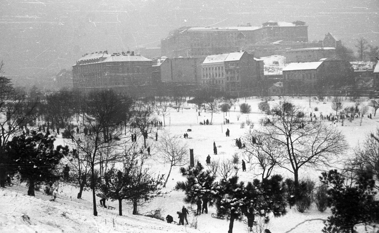 """1959 decemberében enyhének számított a tél, mégis rengetegen szánkóztak a Tabánban. """"Minden íratlan időjárási szabályt felrúgva köszöntött be december elején — igen szélsőséges értékekkel — a tél. Bár mindenütt várták, keménységével meglepte a világot. Nálunk csekély havazással érkezett, délről, a Duna völgyéből. Míg Európa-szerte ítéletidőről érkeznek a jelentések, az országban viszonylag enyhe az idő. A Kárpátoknak köszönhetjük """" - írta a Népszava 1959 decemberében."""