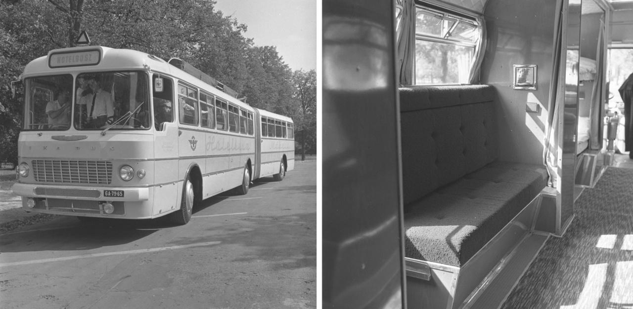 """1967-ben a MÁVAUT főműhelye, a KPM Autóközlekedési Vezérigazgatóság javaslatára, a Budapesti Jármű KTSZ segítségével, a Leyland-motorral szerelt csuklós Ikarus 180 prototípusból """"huszonkilenc személy utazási kényelmét minden szempontból"""" biztosító Hotelbuszt alakított ki. A """"jármű első felében hat hálófülkét képeztek ki, tizenkét fekvőhellyel. A szivacsbetétes emeletes ágyak a nappali utazáshoz háttámlás ülőhelyekké alakíthatók. Az autóbusz hátsó részében minibár, személyzeti fülke és mosdó-zuhanyozó is található"""" – számolt be az Autó-Motor a kísérleti járműről, amely egy ideig Zalaegerszegre közlekedett."""