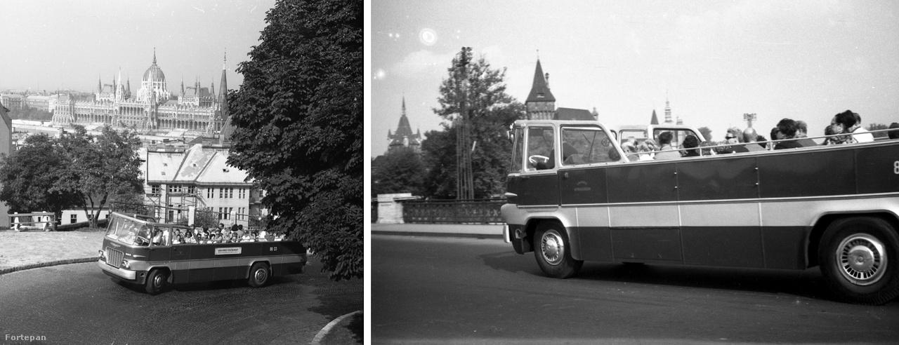 Városnéző busszá alakított Ikarus 620. Három, egymástól részleteiben eltérő példány épült belőle a hatvanas években, egyikük a gondos restaurálásnak köszönhetően még ma is fut, oldtimer rendezvényeken gyakran megfordul.