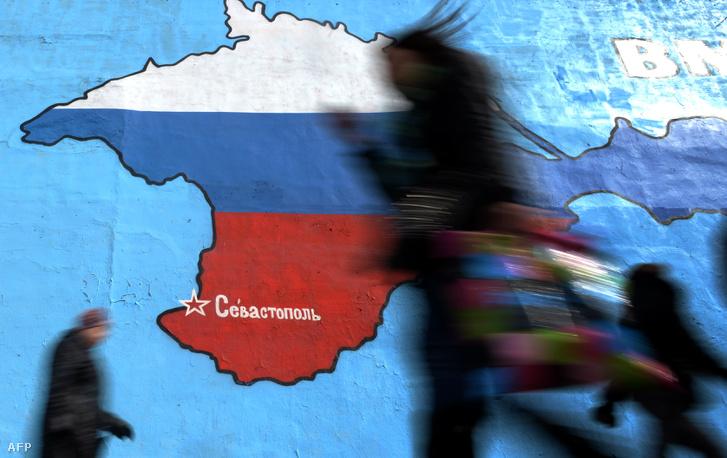 A Krím-félsziget az orosz trikolór színeiben