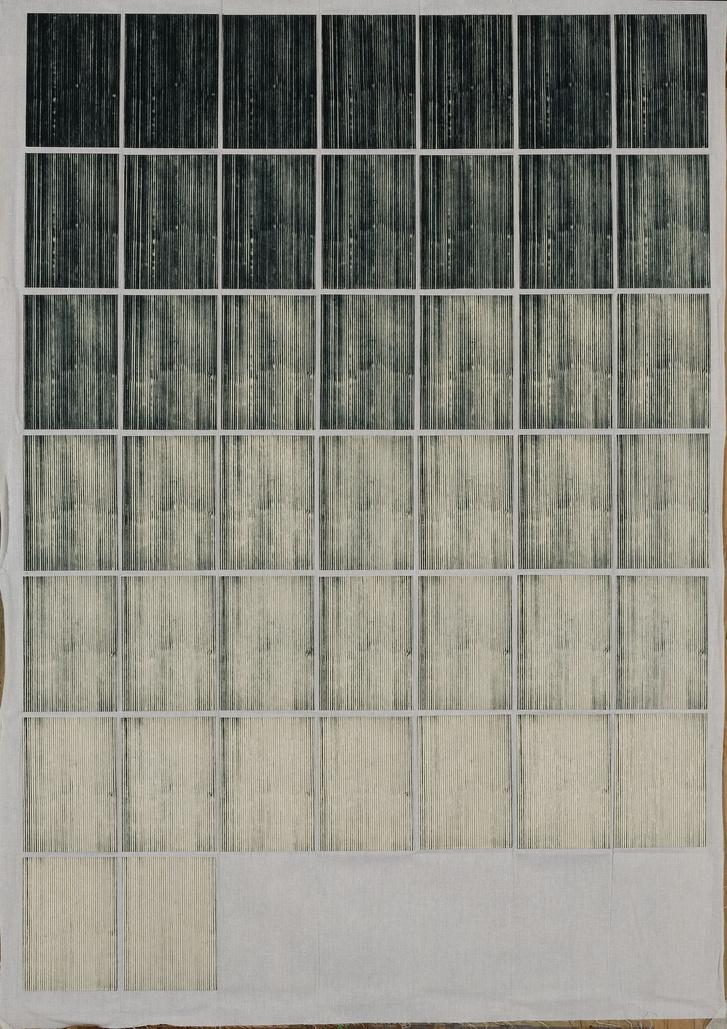 Maurer Dóra: Nyomtatás kimerülésig, 1978-1979                         hidegtűlemez nyomtatása kimerülésig, alufólia, lepedővászon,                          lemezek 12x9 cm, vászon 100x70 cm