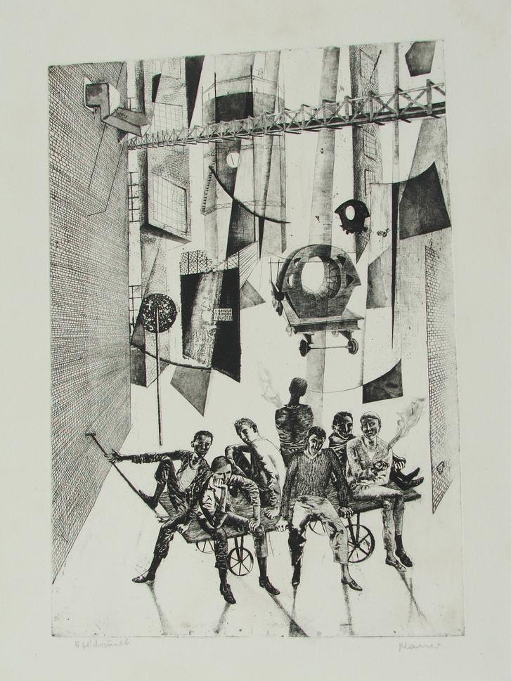 Maurer Dóra: Ebédszünet (Mindennapok sorozat), 1960                         rézkarc, papír