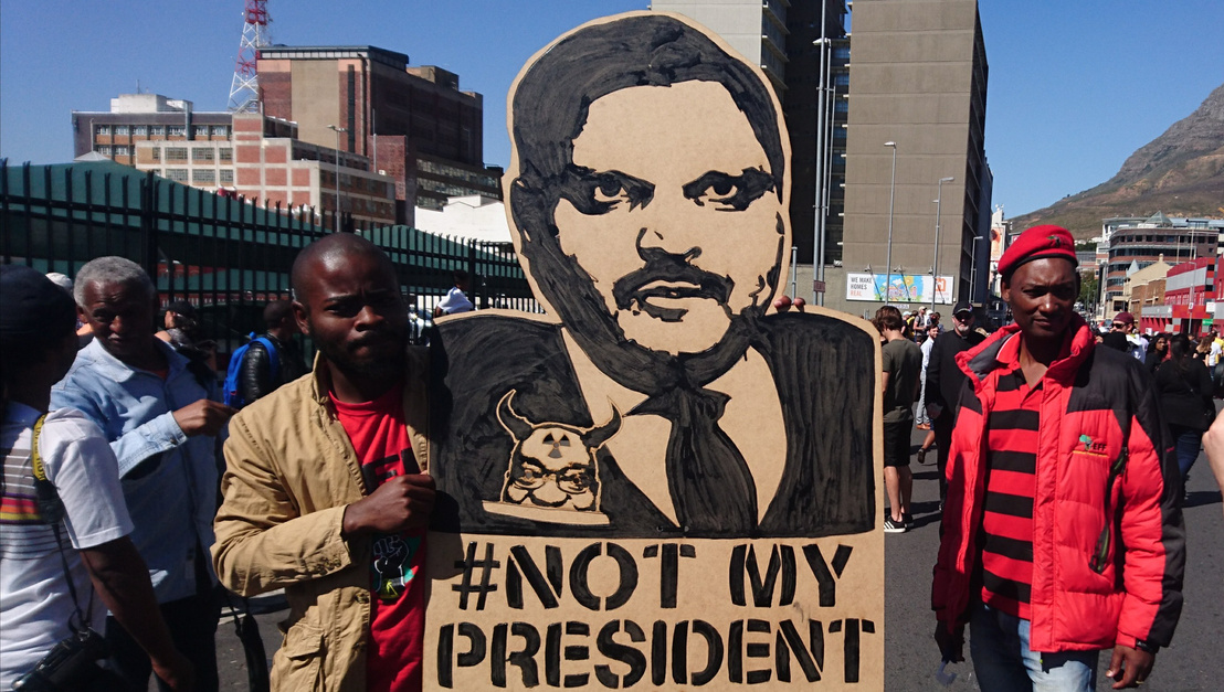Atul Gupta protest banner - Cape Town Zuma must fall