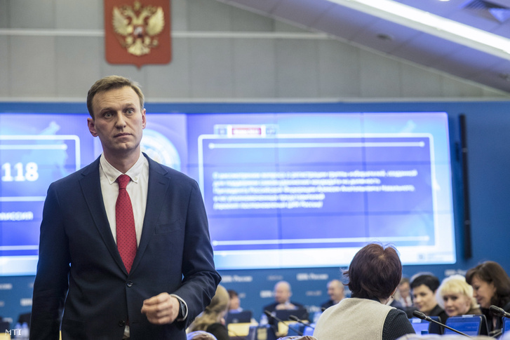 Alekszej Navalnij az orosz Központi Választási Bizottság moszkvai irodájában 2017. december 25-én.