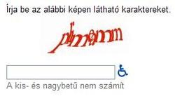 Egy szokványos CAPTCHA. Még szerencse, hogy a kis- és nagybetűk nem számítanak...