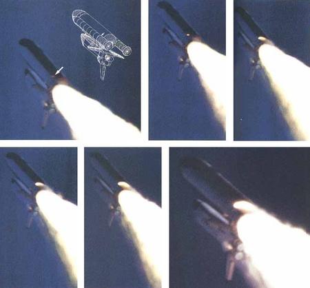 A növekvő lángcsóva (kép: aerospaceweb.org)