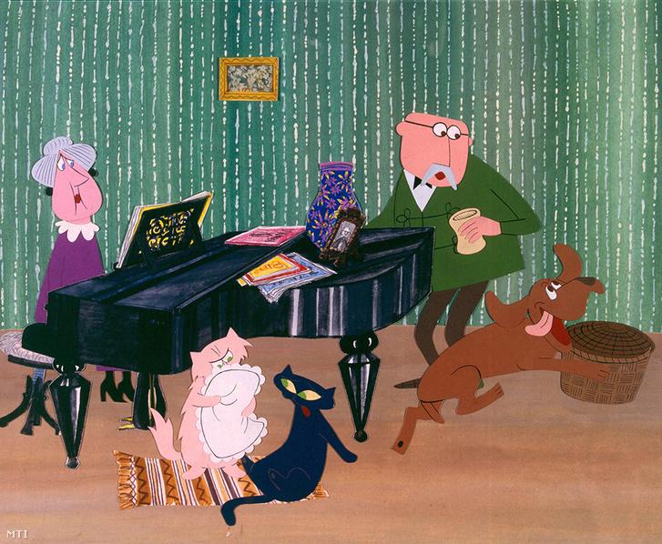 Irma néni Szerénke Lukrécia Károly bácsi és Frakk a magyar vizsla (b-j) a Frakk a macskák réme című rajzfilmsorozat egyik jelenetében.