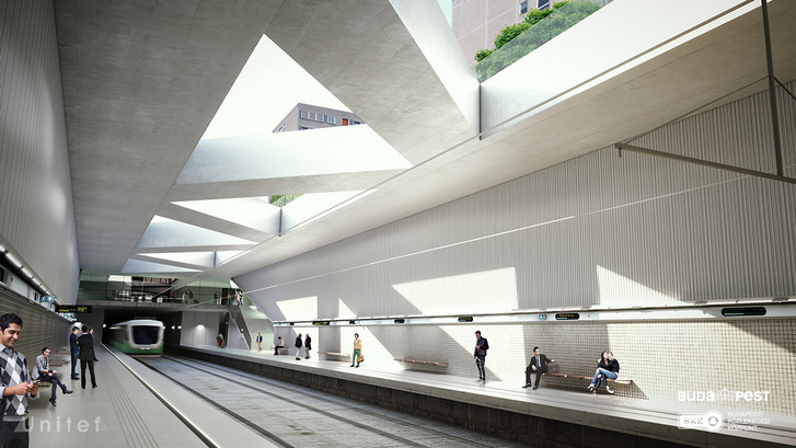 A rákoskeresztúri szárnyvonal leágazása előtti Rákosfalva metrómegálló a korábbi terveken