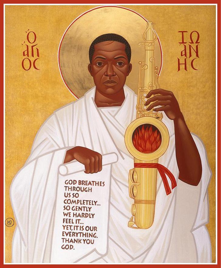 """God breathes through the holy horn of St. John Coltrane"" - Mark Dukes festménye"